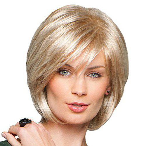 Stylish Human Hair Charming Side Bang Fluffy Short Straight Women's Capless Wig - BLONDE