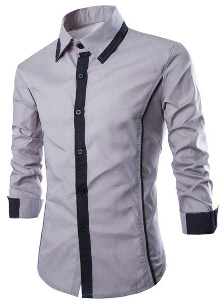 Trendy Color Block Fake Tie Design Shirt Collar Long Sleeve Slimming Men's Polyester Shirt