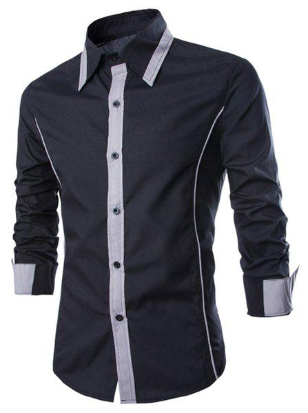 Trendy Color Block Fake Tie Design Shirt Collar Long Sleeve Slimming Men's Polyester Shirt - BLACK XL