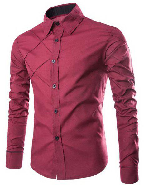 Trendy Checked Sutures Design Shirt Collar Long Sleeve Slimming Men's Polyester Shirt - WINE RED 2XL
