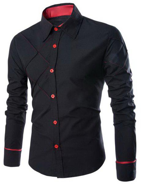 Trendy Checked Sutures Design Shirt Collar Long Sleeve Slimming Men's Polyester Shirt - BLACK L