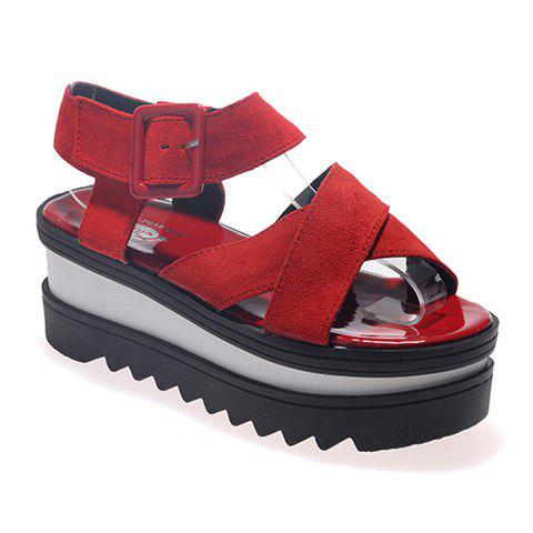 Fashionable Suede and Buckle Design Sandals For Women