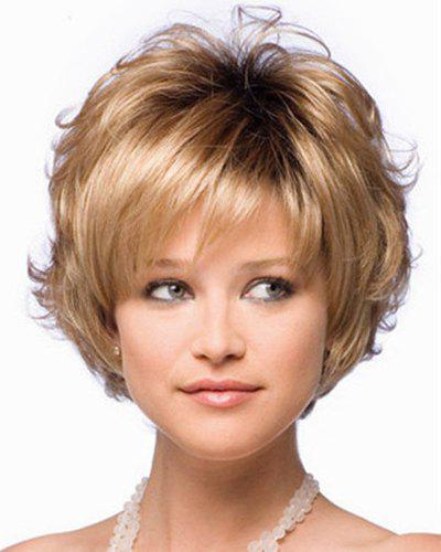 Trendy Synthetic Blonde Fluffy Short Curly Side Bang Charming Women's Capless Wig