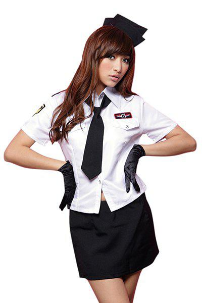 Chic Shirt Collar Short Sleeve Blouse + Solid Color Wrapped Skirt Women's Cosplay Costume - WHITE M