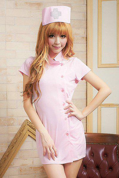 Chic Stand-Up Collar Short Sleeve Solid Color Button Design Women's Cosplay Costume - PINK ONE SIZE(FIT SIZE XS TO M)