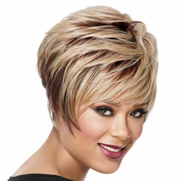 Towheaded Short Straight Side Bang Multi-Layered Heat-Resistant Capless Women's Ombre Wig head and the heart head and the heart stinson beach sessions