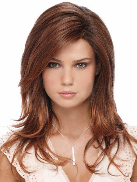 Capless Charming Mixed Color Side Bang Multi-Layered Fluffy Long Wavy Women's Synthetic Wig - COLORMIX