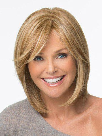 Bob Hairstyle Side Bang Fluffy Medium Straight Heat Resistant Charming Women's Synthetic Blonde Wig trendy ombre side bang long straight charming heat resistant synthetic women s cosplay wig