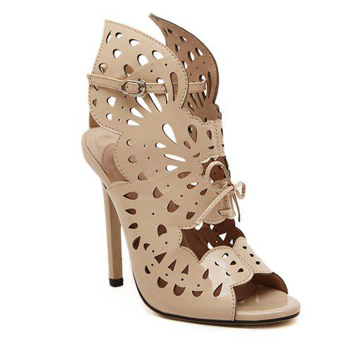 Sexy Style Openwork and Stiletto Heel Design Women's Sandals - APRICOT 35