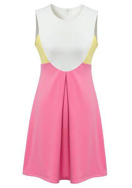 Sweet Color Block Round Collar Sleeveless Dress For Women - PINK/WHITE L