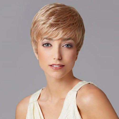 Charming Sexy Short Straight Full Bang Heat Resistant Capless Women's Synthetic Blonde Wig - LIGHT BROWN