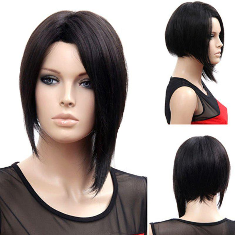 Trendy Synthetic Side Bang Black Medium Straight Bob Charming Women's Wig - BLACK
