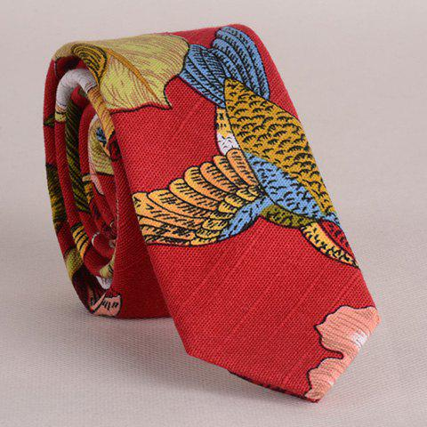 Stylish Flower and Bird Pattern Color Block Men's Tie - RED