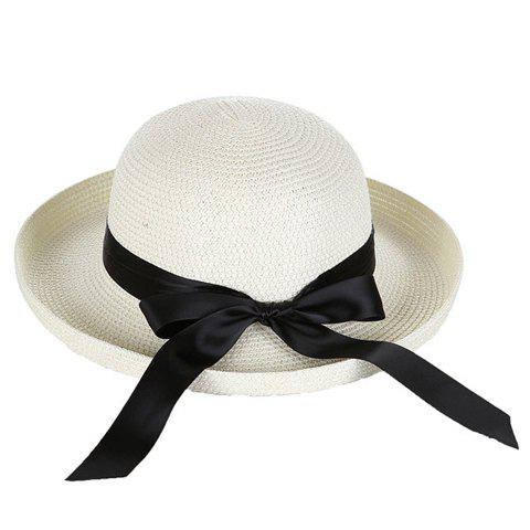 Chic Black Bow Ribbon Embellished Flanging Straw Hat For Women -  WHITE