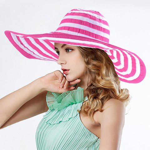 Chic Stripes Pattern Color Block Wide Brim Sun Hat For Women - RANDOM COLOR