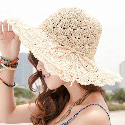 Chic Bow Rope Lace-Up Embellished Openwork Crochet Hook Straw Hat For Women - LIGHT KHAKI