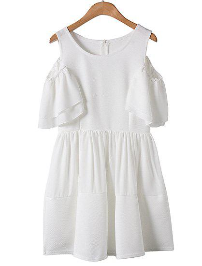 Sweet Round Collar Off The Shoulder Short Sleeve Dress For Women - WHITE L