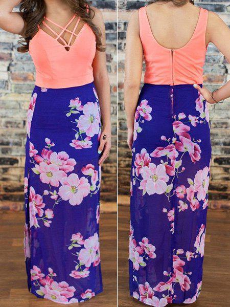Sexy Plunging Neck Sleeveless Floral Print Spliced Women's Dress - BLUE L