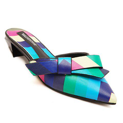 Stylish Bow and Multi-Colored Design Pointed Toe Slippers For Women - GREEN 35