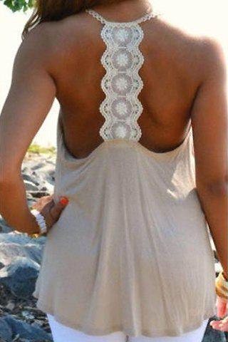 Chic Lace Splicing Backless Scoop Neck Loose Tank Top For Women - KHAKI S