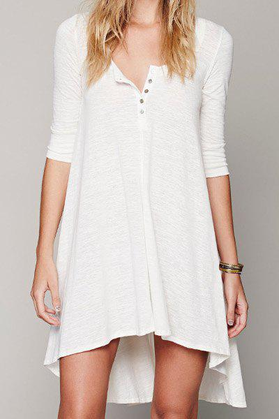 Casual Scoop Collar 3/4 Sleeve Asymmetrical Solid Color Women's Dress - WHITE M