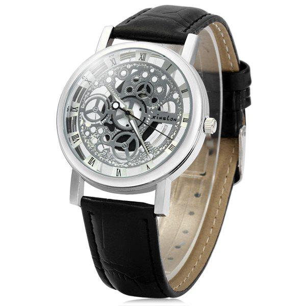 Xinslon Hollow-out Quartz Watch with Leather Band for Men - BLACK