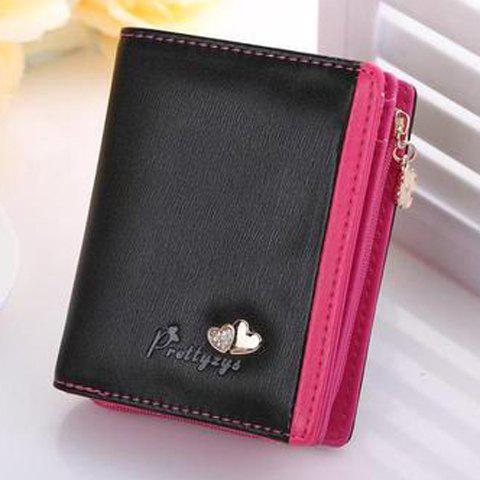 Sweet Color Block and Hearts Design Wallet For Women - BLACK