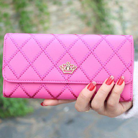 Fashion Checked and Crown Design Women's Clutch Wallet