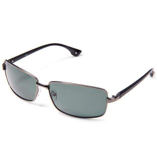 8621 Men Outdoor Sun Glasses Light Green Polarized Lens Metal Frame Nose Bridge with Silicone Pad - GUN METAL