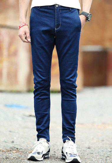 Fashion Solid Color Sutures Design Slimming Straight Leg Men's Cotton Blend Pants - BLUE 33