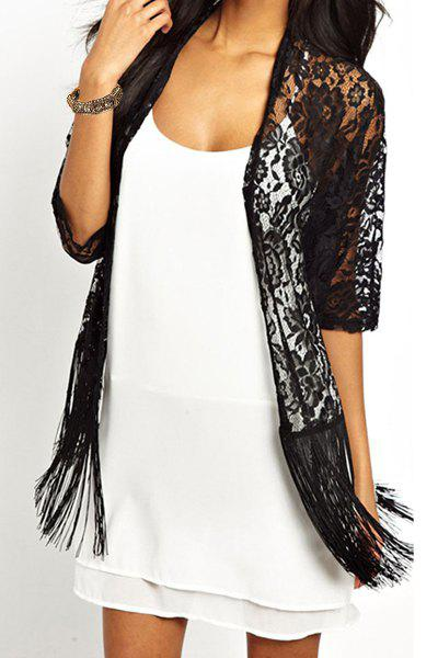 Fashionable Lace Embroidered Tassel Spliced Half Sleeve Kimono Women's Cardigan - BLACK L