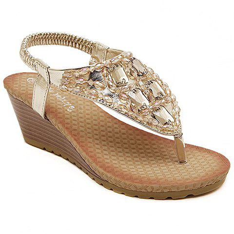 Elegant Rhinestones and Beading Design Wedge Heel Sandals For Women