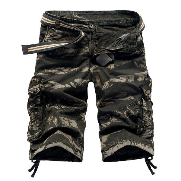 Fashion Camo Design Multi-Pocket Military Style Straight Leg Men's Cotton Blend Shorts - ARMY GREEN 30