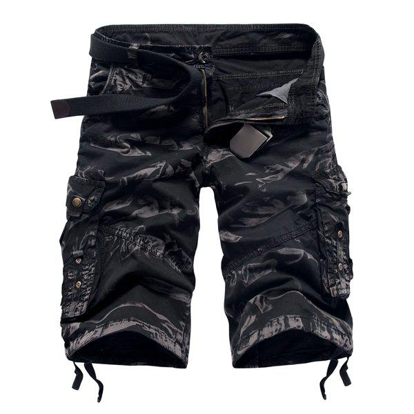 Fashion Camo Design Multi-Pocket Military Style Straight Leg Men's Cotton Blend Shorts - BLACK 30