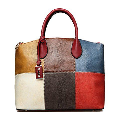 Retro Color Block and Pendant Design Tote Bag For Women - CLARET