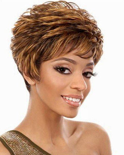 Trendy Synthetic Blonde Mixed Brown Fluffy Short Curly Side Bang Charming Women's Capless Wig fashion side bang charming short straight dark brown mixed blonde heat resistant synthetic capless wig for women