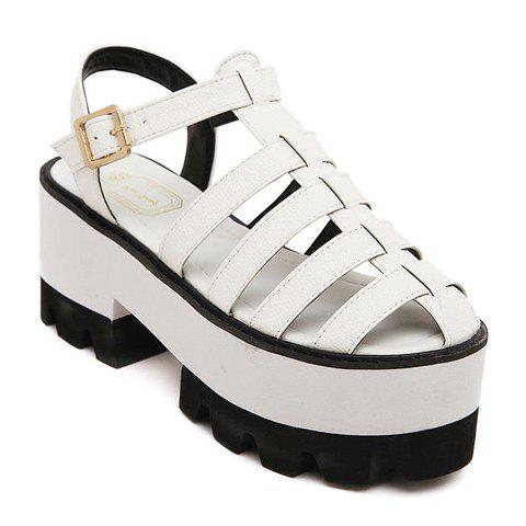 Stylish PU Leather and Hollow Out Design Platform Sandals For Women - WHITE 35