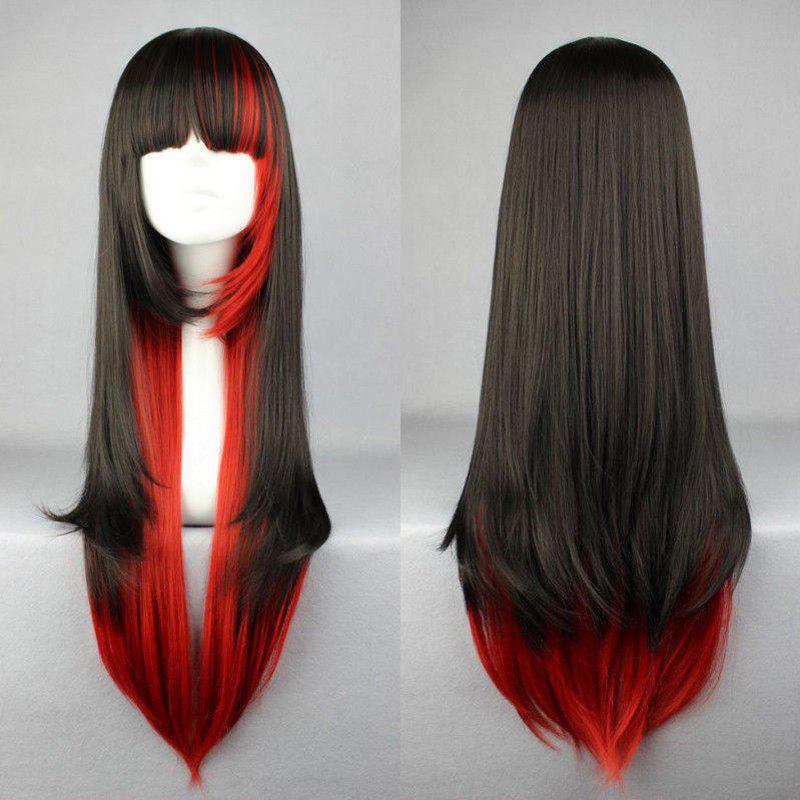 Stylish Outstanding Full Bang Multi-Layered Long Straight Black Gradient Red Cosplay Wig - multicolor