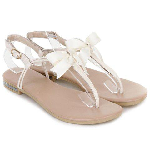 Sweet Bowknot and Flat Heel Design Flip-Flop Sandals For Women - OFF WHITE 38