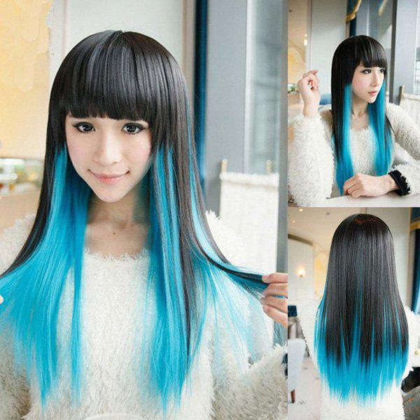 High Quality Harajuku Style Full Bang Layered Black Gradient Blue Long Straight Cosplay Wig - OMBRE