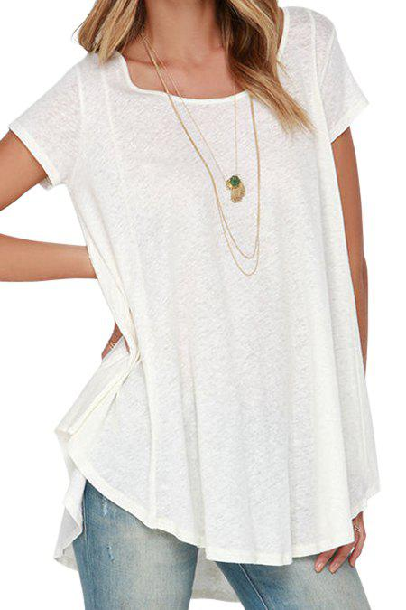 Stylish White Short Sleeve With Lace High Low Women's T-shirt - WHITE S