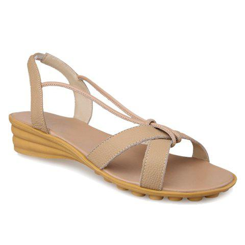 Concise Solid Color and PU Leather Design Sandals For Women - APRICOT 34