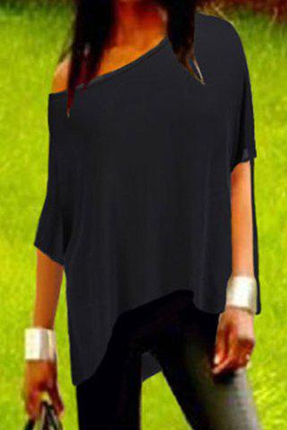Stylish Skew Neck 3/4 Sleeve Asymmetrical Solid Color Women's T-Shirt - BLACK XL