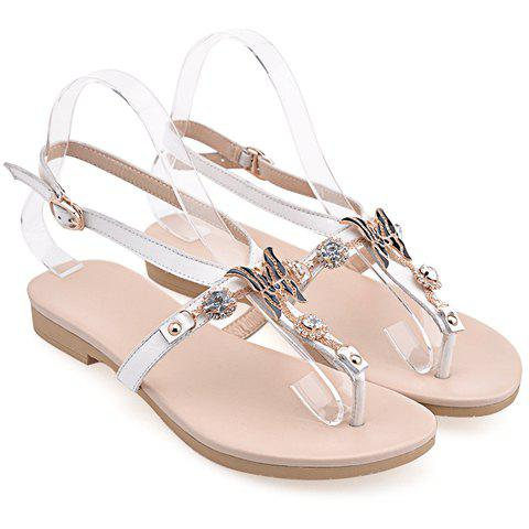 White Sandals: White Flat Sandals With Rhinestones