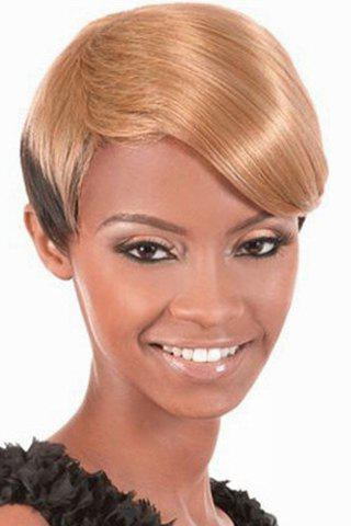 Trendy Synthetic Blonde to Deep Brown Ombre Short Straight Side Bang Sparkling Women's Capless Wig - OMBRE