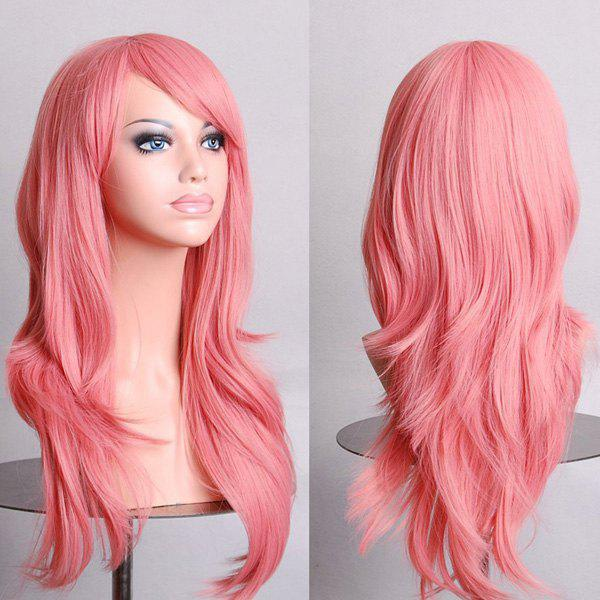 Fashion 70CM Fluffy Multi-Layered Long Wavy Side Bang Multicolor Optional Cosplay Wig - SHALLOW PINK