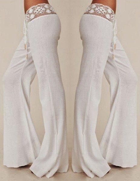 Stylish Mid-Waisted Waist Drawstring Spliced Laciness Women's Pants - WHITE M