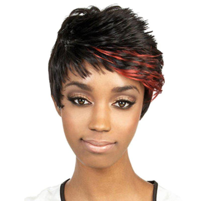 Trendy Synthetic Red Highlight Short Curly Side Bang Fluffy Spiffy Women's Capless Wig - COLORMIX