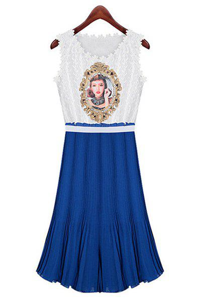 Elegant Round Collar Beauty Print Lace Splicing Chiffon Sleeveless Dress For Women - BLUE M