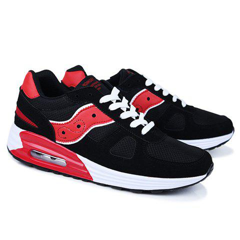 Street Style Splice and Letter Print Design Athletic Shoes For Men - BLACK 42